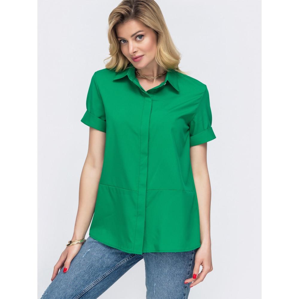 Зеленая рубашка с коротким рукавом Лера фото 1