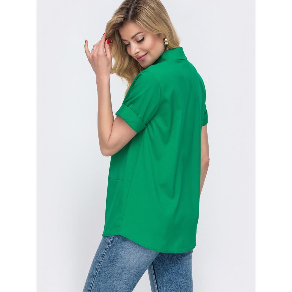 Зеленая рубашка с коротким рукавом Лера фото 2