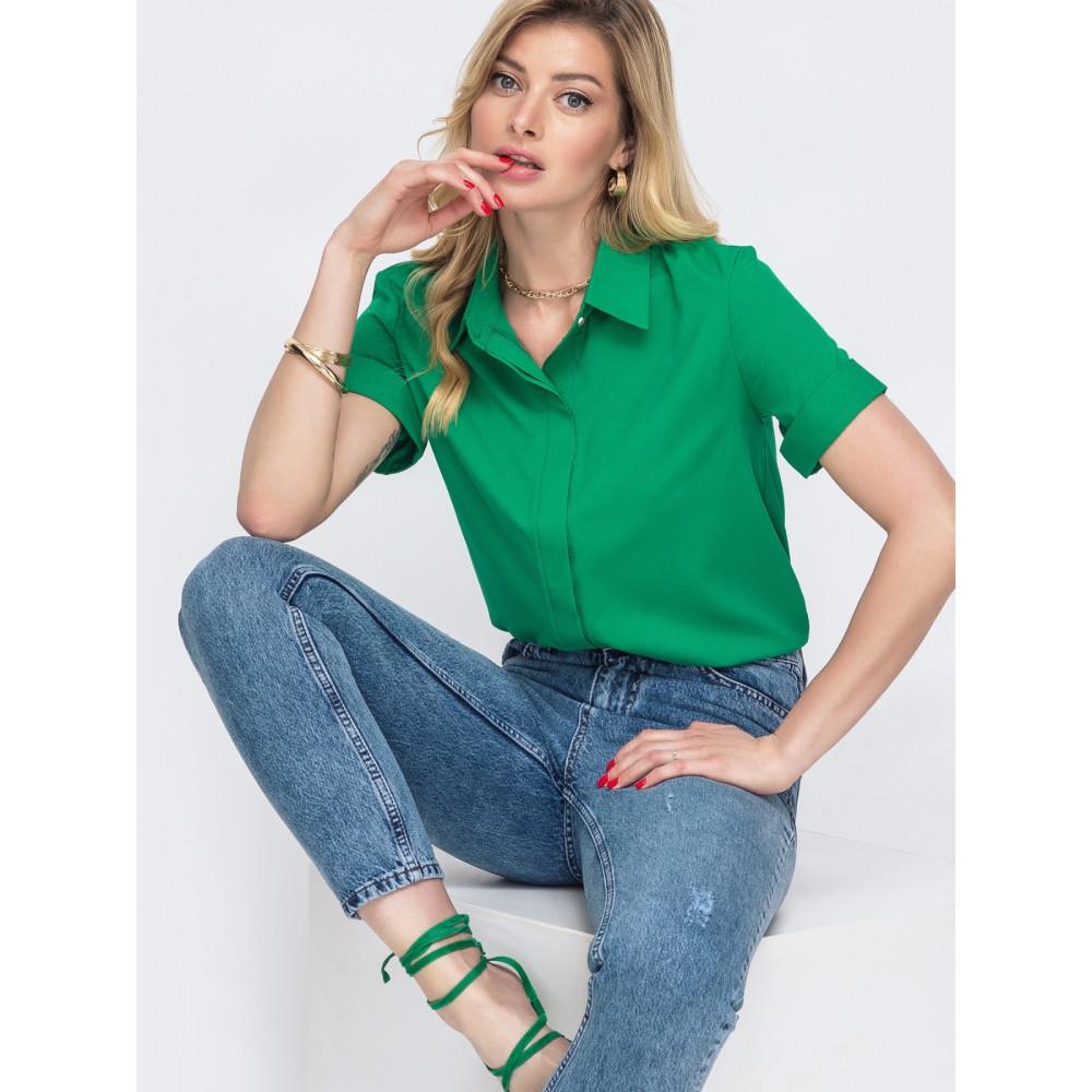 Зеленая рубашка с коротким рукавом Лера фото 3