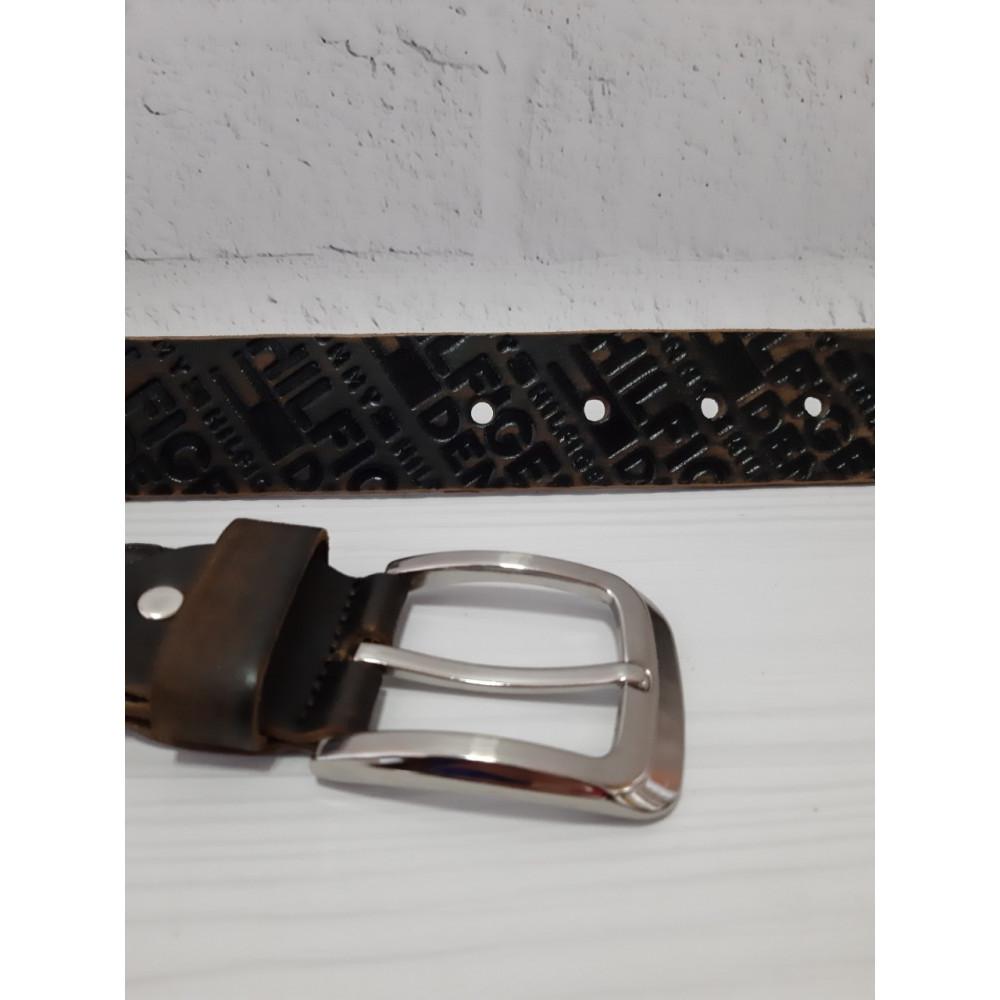 Кожаный модный ремень с серебрянной пряжкой фото 2