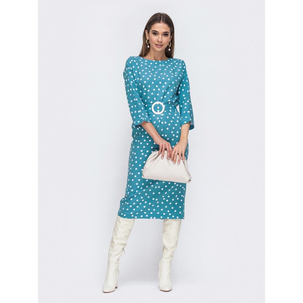 Голубое платье в горохи с оригинальной спинкой фото 1