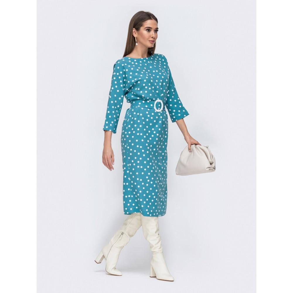 Голубое платье в горохи с оригинальной спинкой фото 2