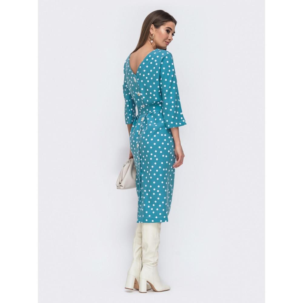 Голубое платье в горохи с оригинальной спинкой фото 3