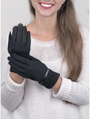 Шерстяные тонкие перчатки черного цвета