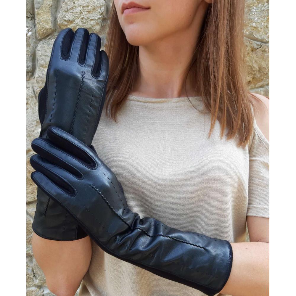 Комбинированные удлиненные перчатки фото 1
