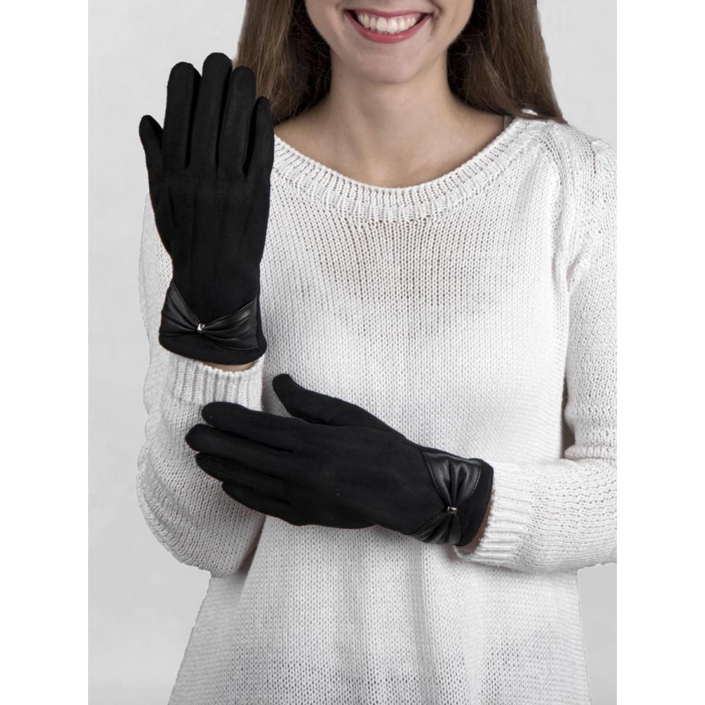 Красивые замшевые перчатки с бантом фото 1