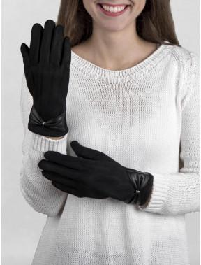 Красивые замшевые перчатки с бантом