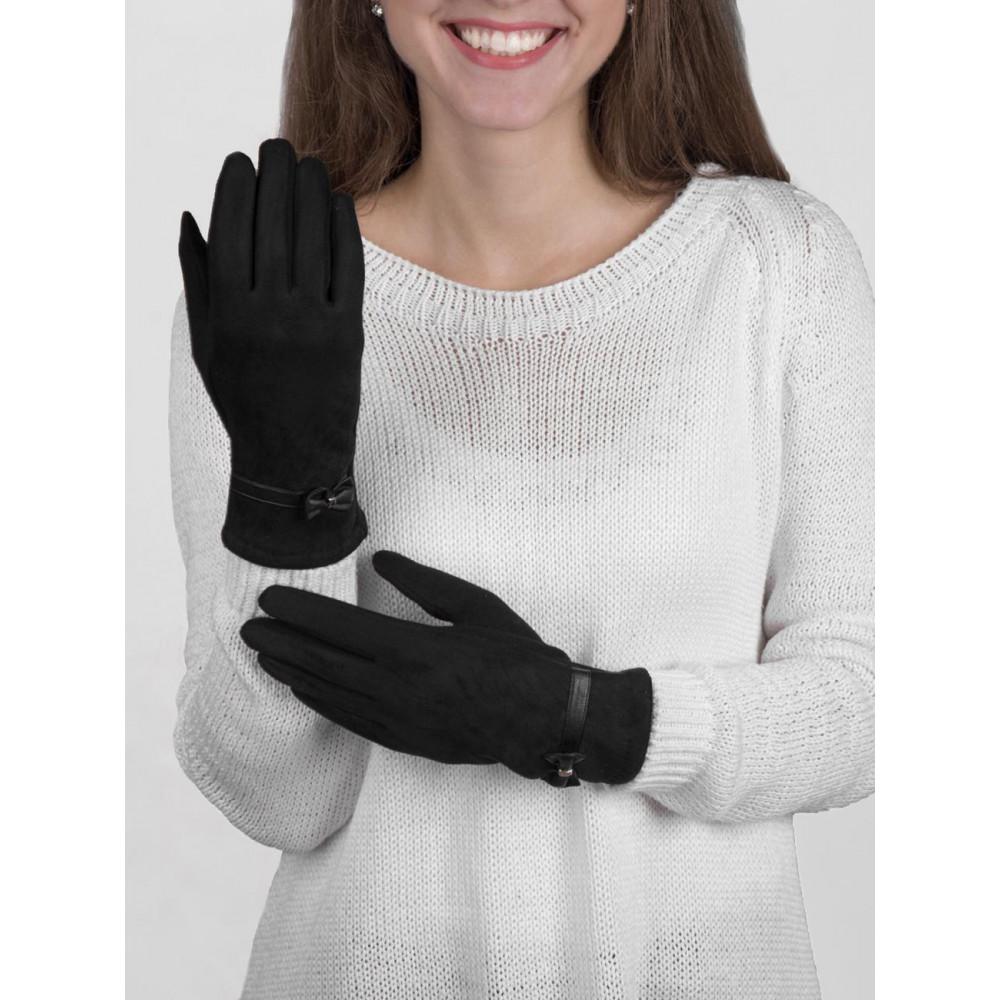 Комбинированные перчатки из замши с бантиком фото 1