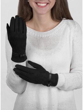 Комбинированные перчатки из замши с бантиком