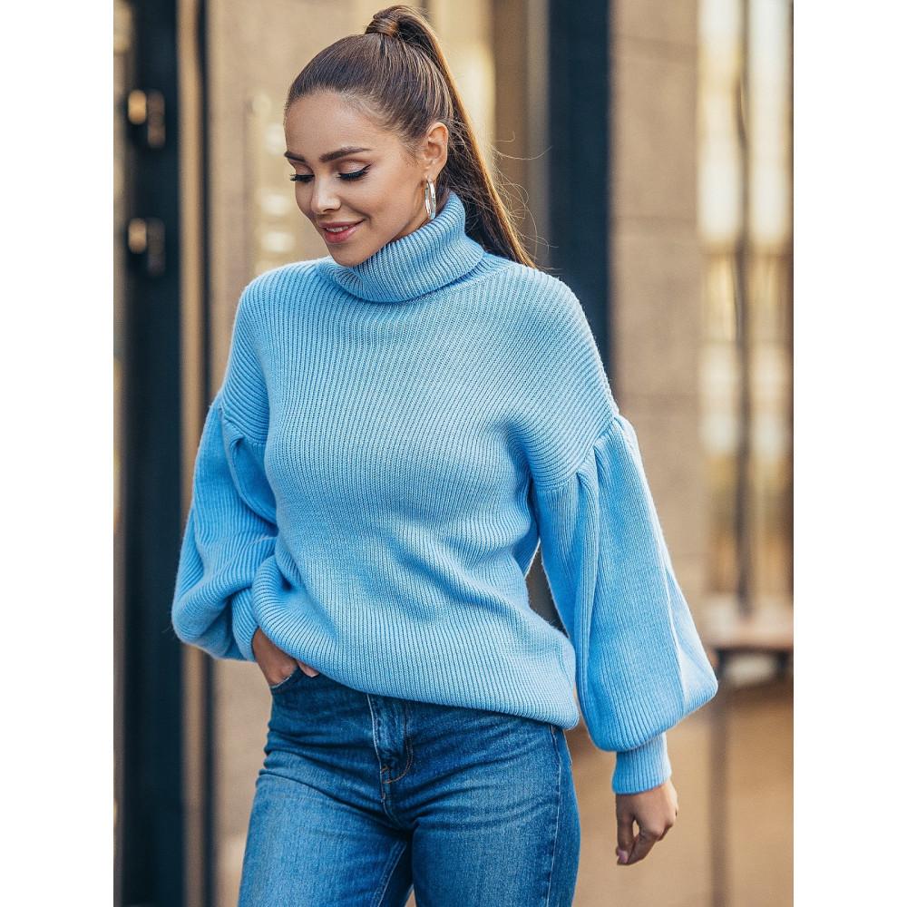 Голубой свитер с обьемными рукавами Тея фото 2