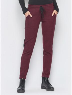 """Бордовые брюки в принт """"елочка"""""""