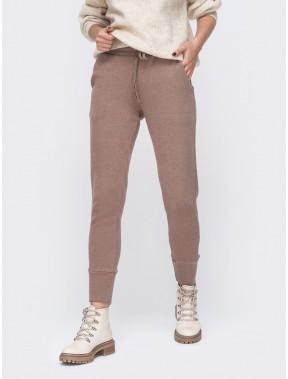 Кофейные теплые брюки в спортивном стиле