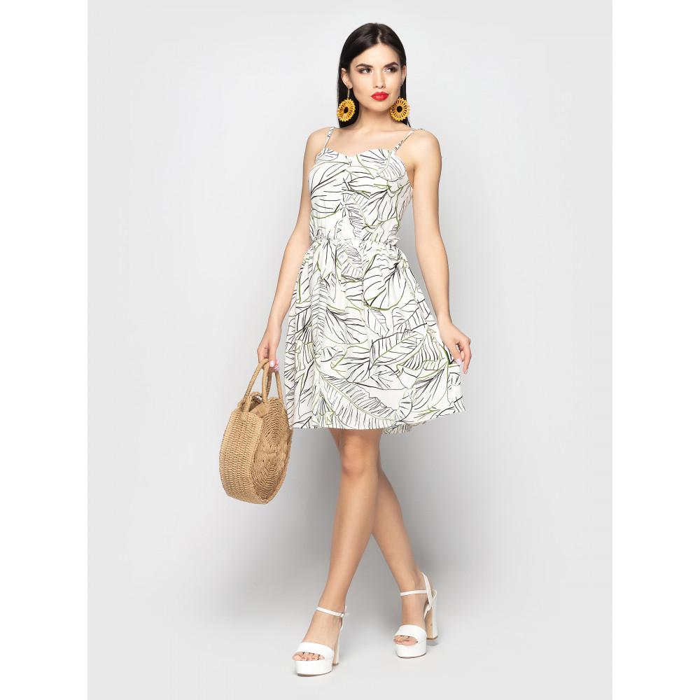 Белый сарафан из штапеля с принтом Selena фото 1
