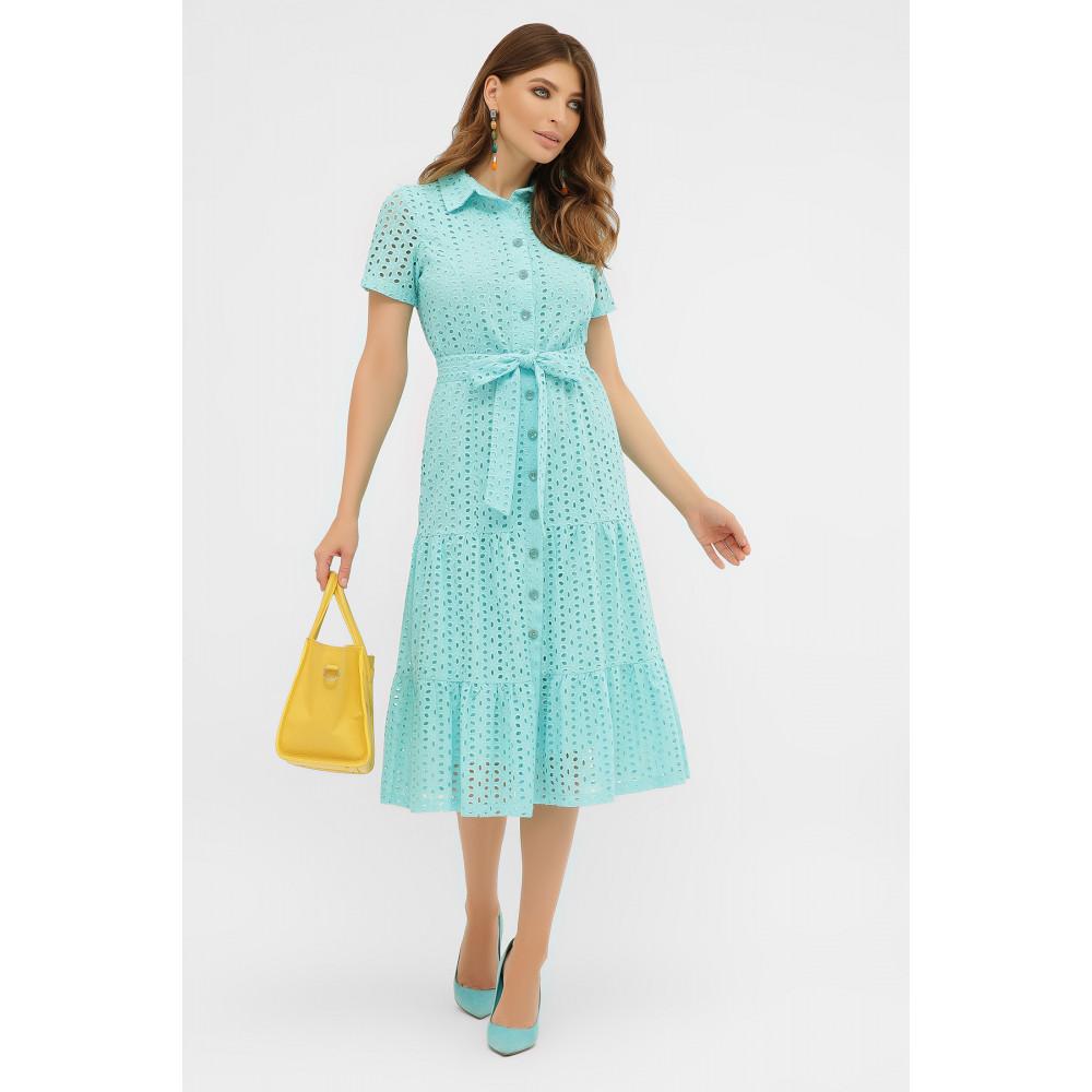 Бирюзовое платье-рубашка из прошвы Уника фото 1