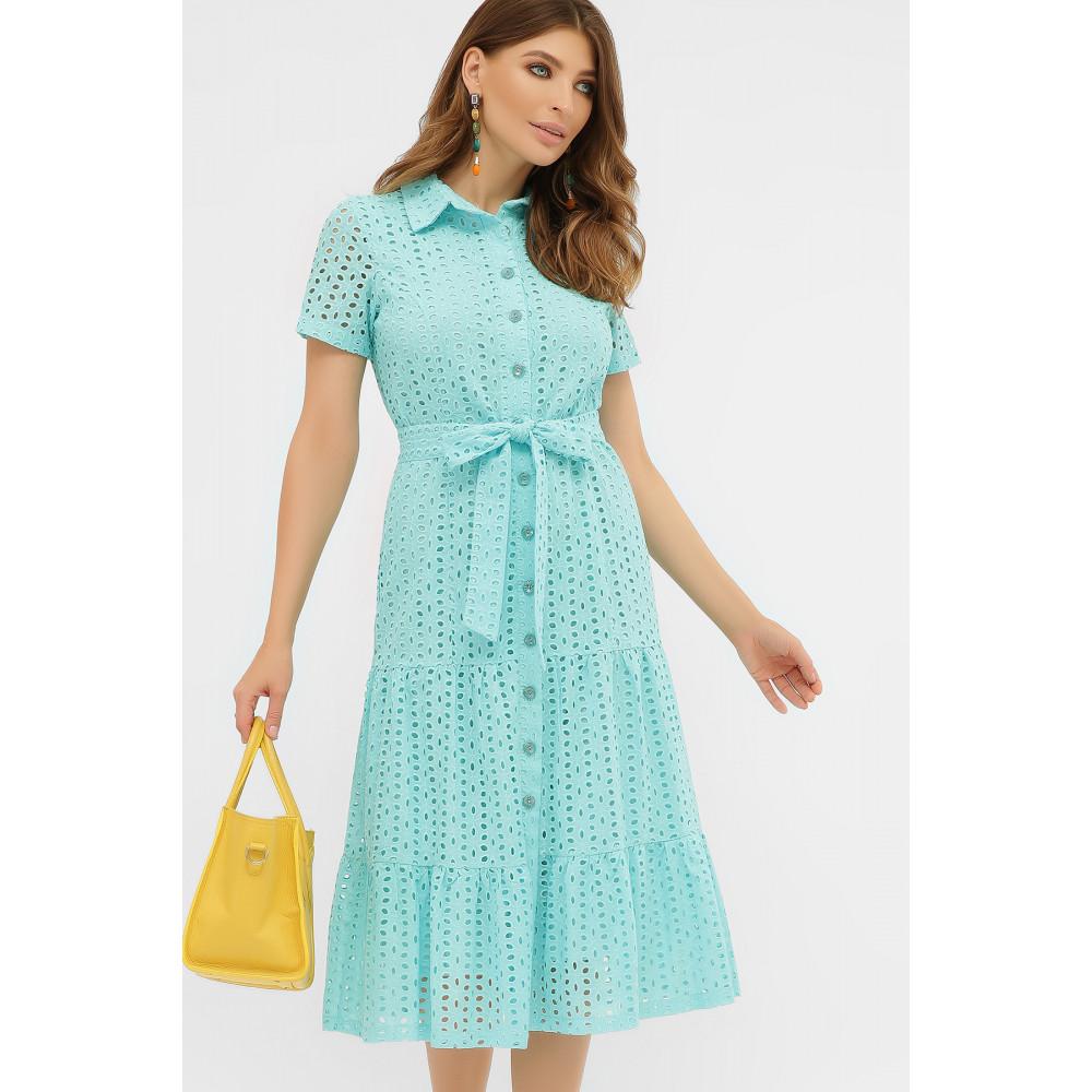 Бирюзовое платье-рубашка из прошвы Уника фото 2