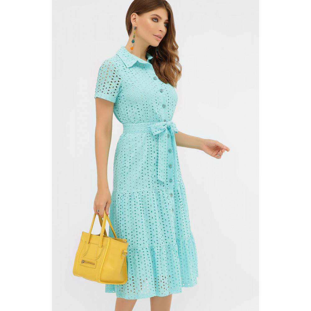 Бирюзовое платье-рубашка из прошвы Уника фото 3
