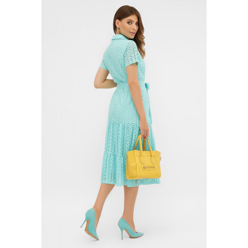 Бирюзовое платье-рубашка из прошвы Уника фото 4