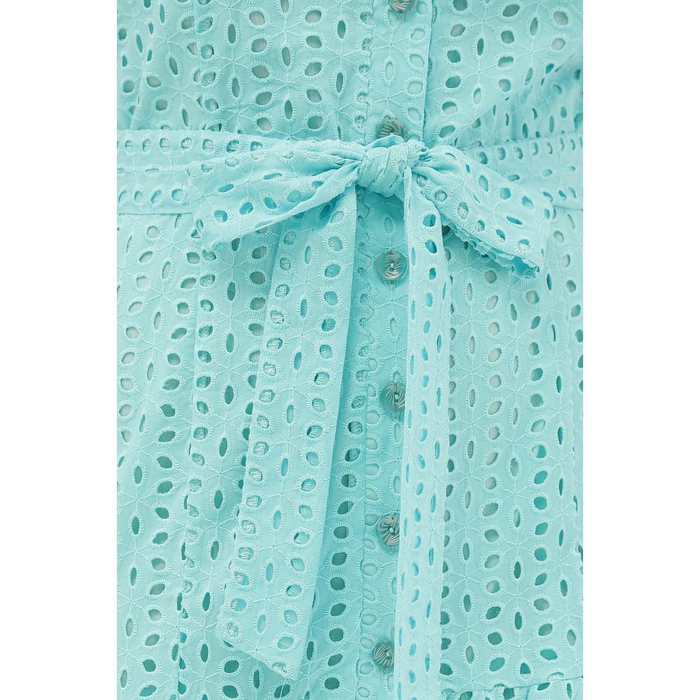 Бирюзовое платье-рубашка из прошвы Уника фото 5
