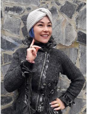 Вязаная женская шапка-чалма с люрексом Аврил