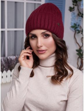 Теплая бордовая шапка Лаура