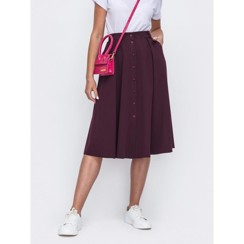 Бордовая базовая юбка-клеш Алия фото 1