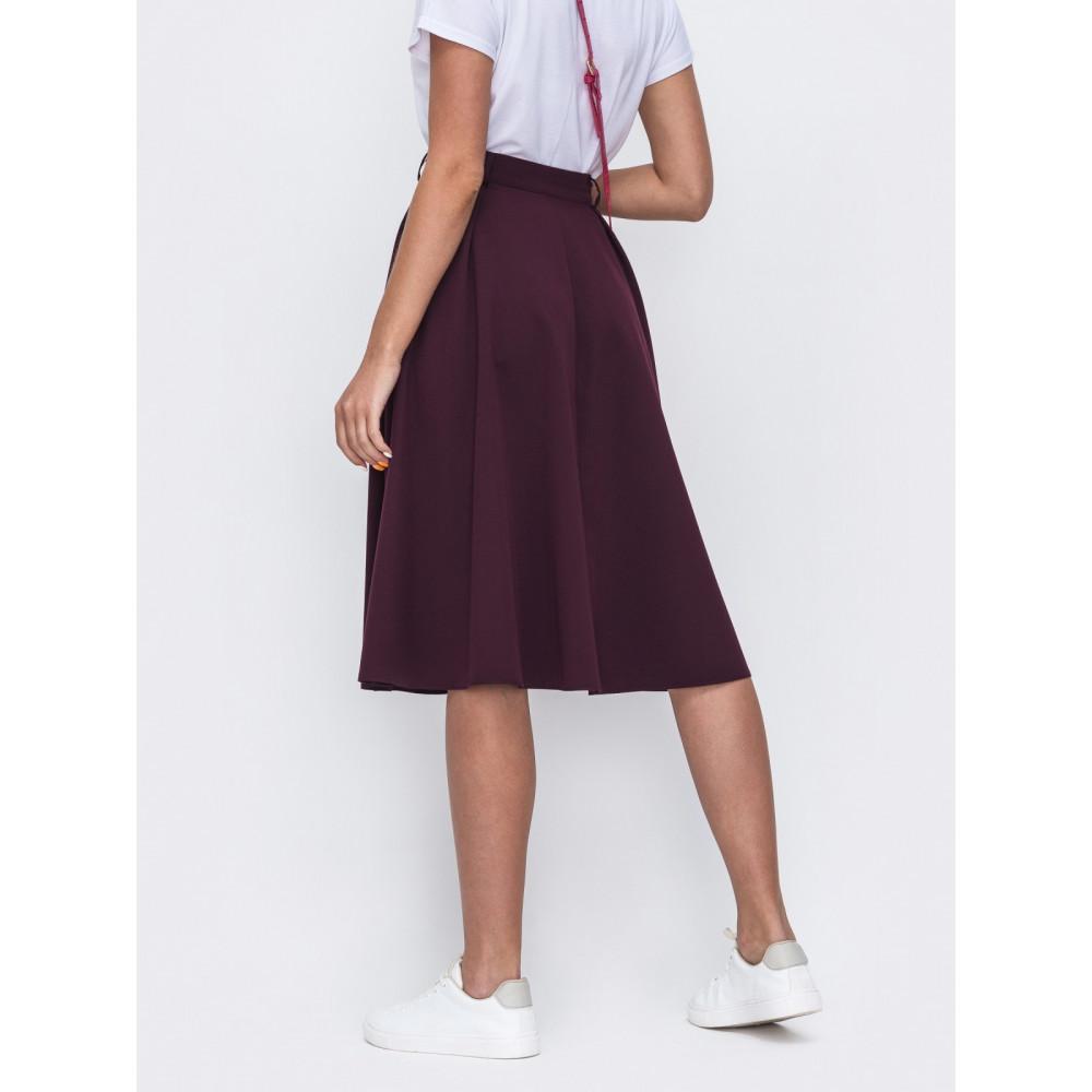 Бордовая базовая юбка-клеш Алия фото 2
