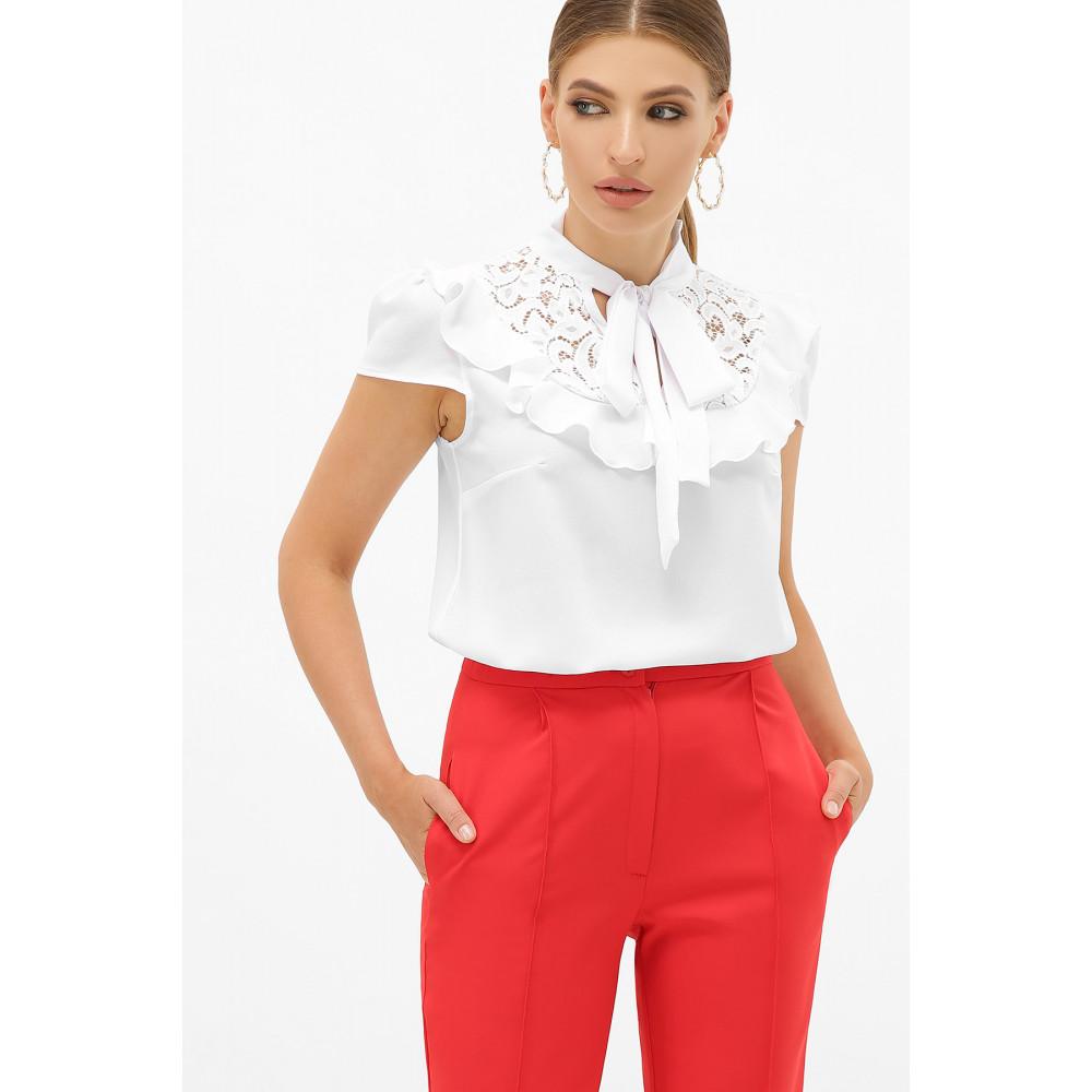 Белая блузка с ажурной кокеткой Федерика фото 1