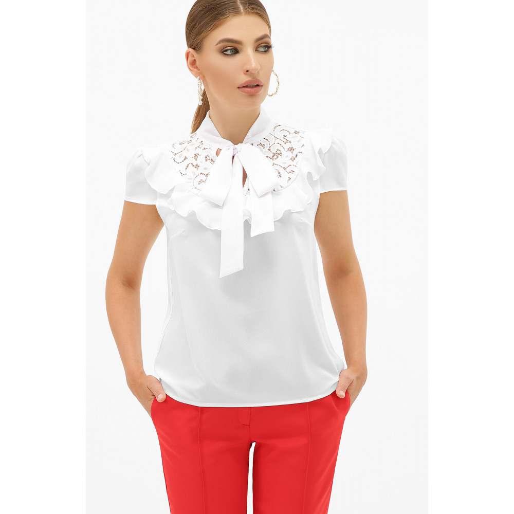 Белая блузка с ажурной кокеткой Федерика фото 7
