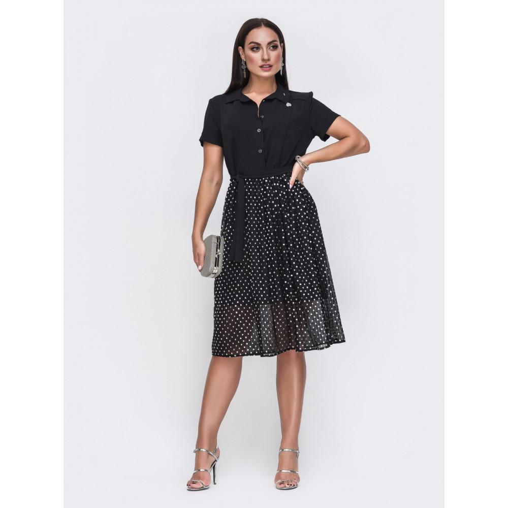 Интересное платье с юбкой из шифона фото 1