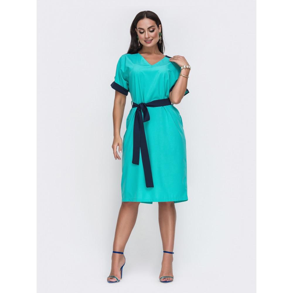 Бирюзовое платье с контрастными вставками фото 1