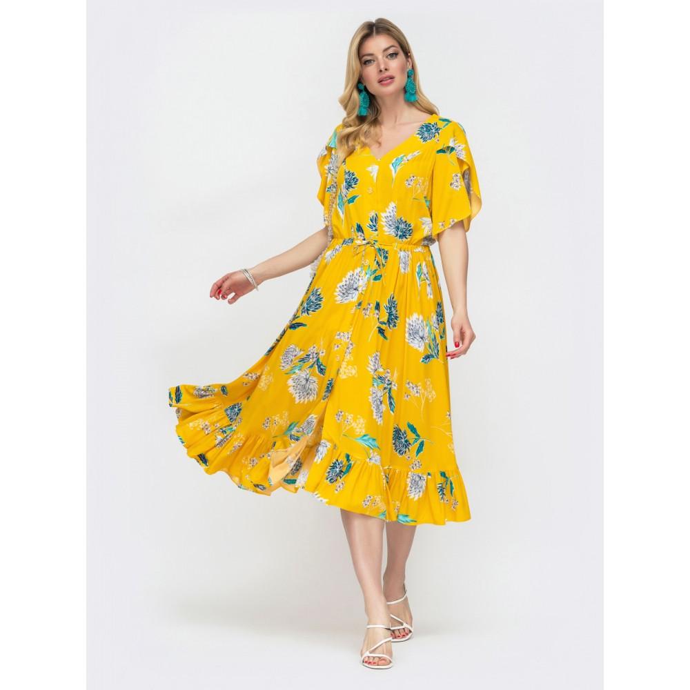 Желтое платье из штапеля с цветами Фея фото 1
