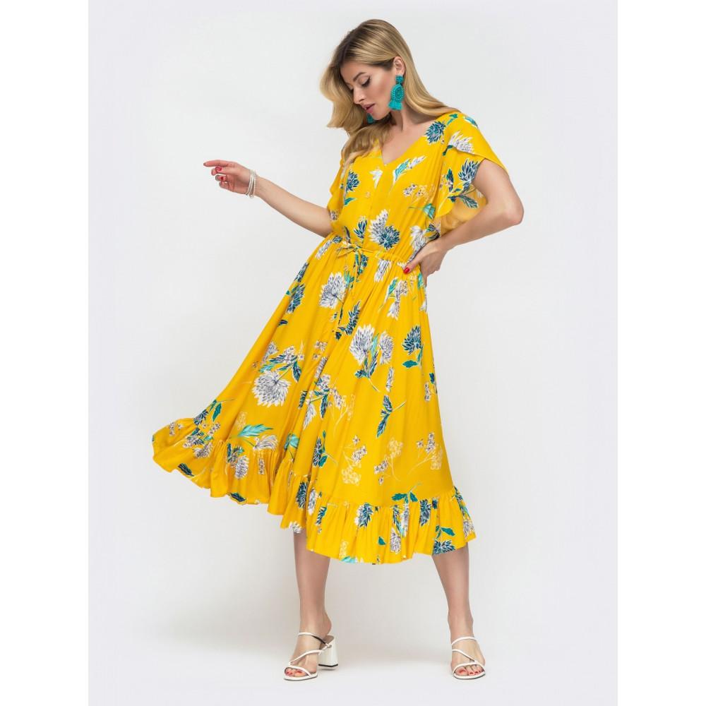 Желтое платье из штапеля с цветами Фея фото 2