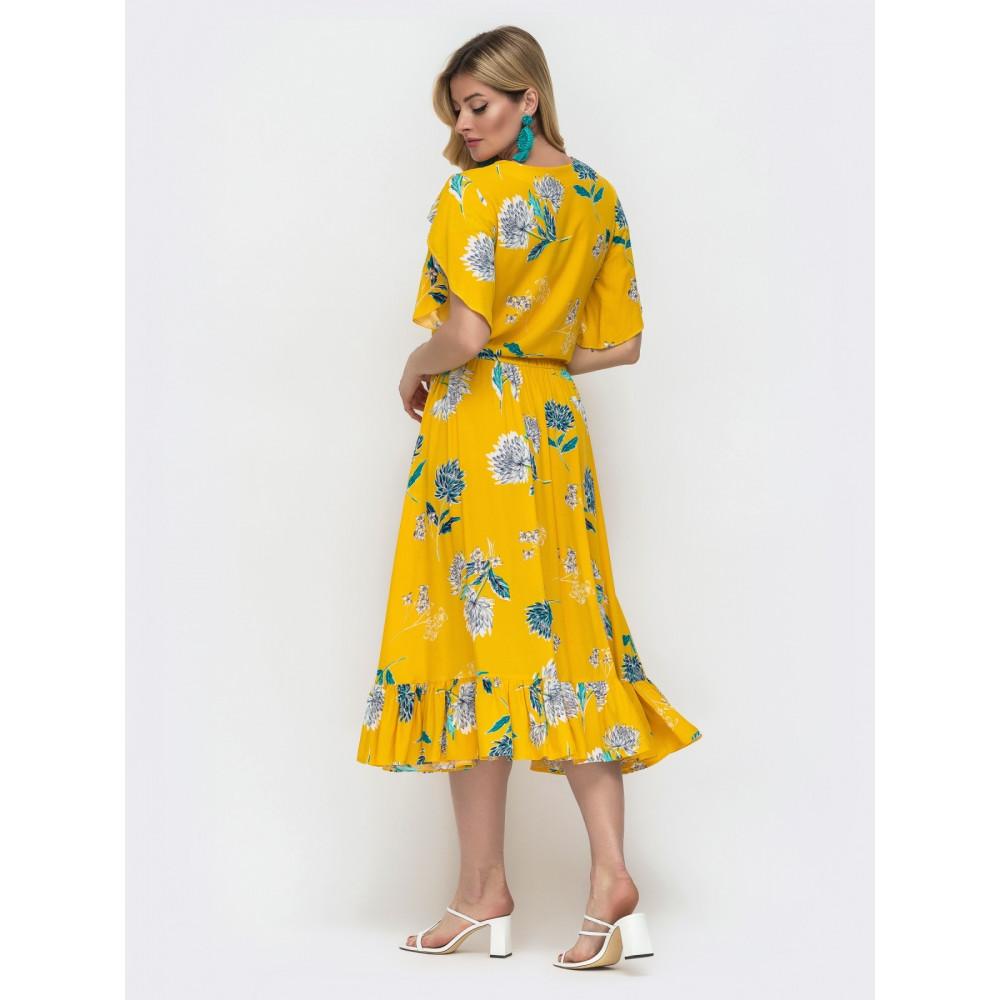 Желтое платье из штапеля с цветами Фея фото 3