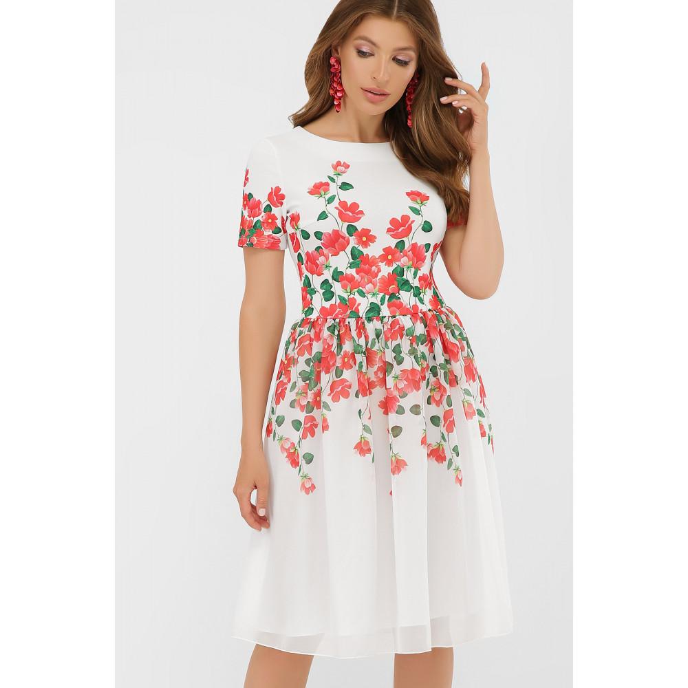 Белое платье-клеш в романтичный принт Мияна фото 1