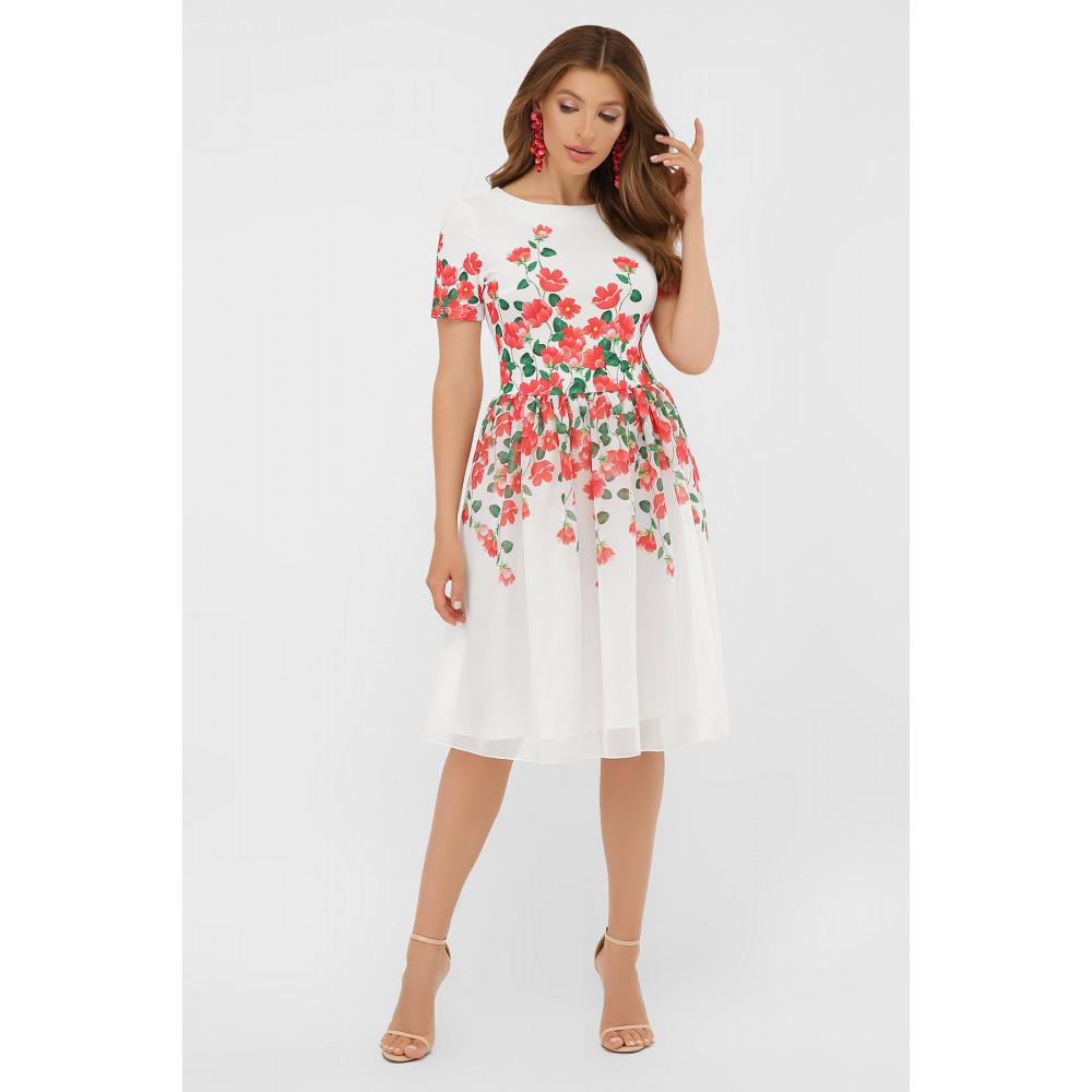 Белое платье-клеш в романтичный принт Мияна фото 2