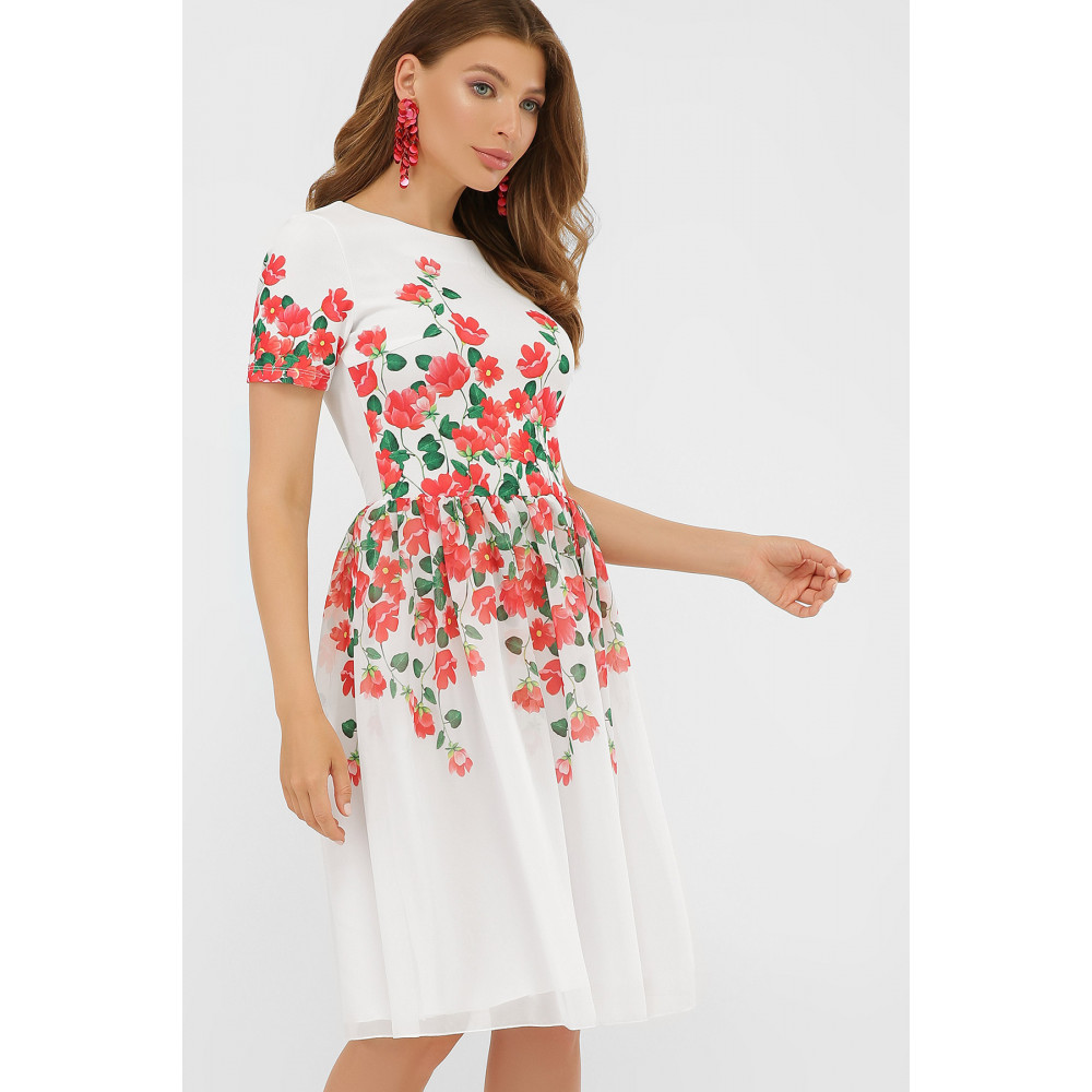 Белое платье-клеш в романтичный принт Мияна фото 3