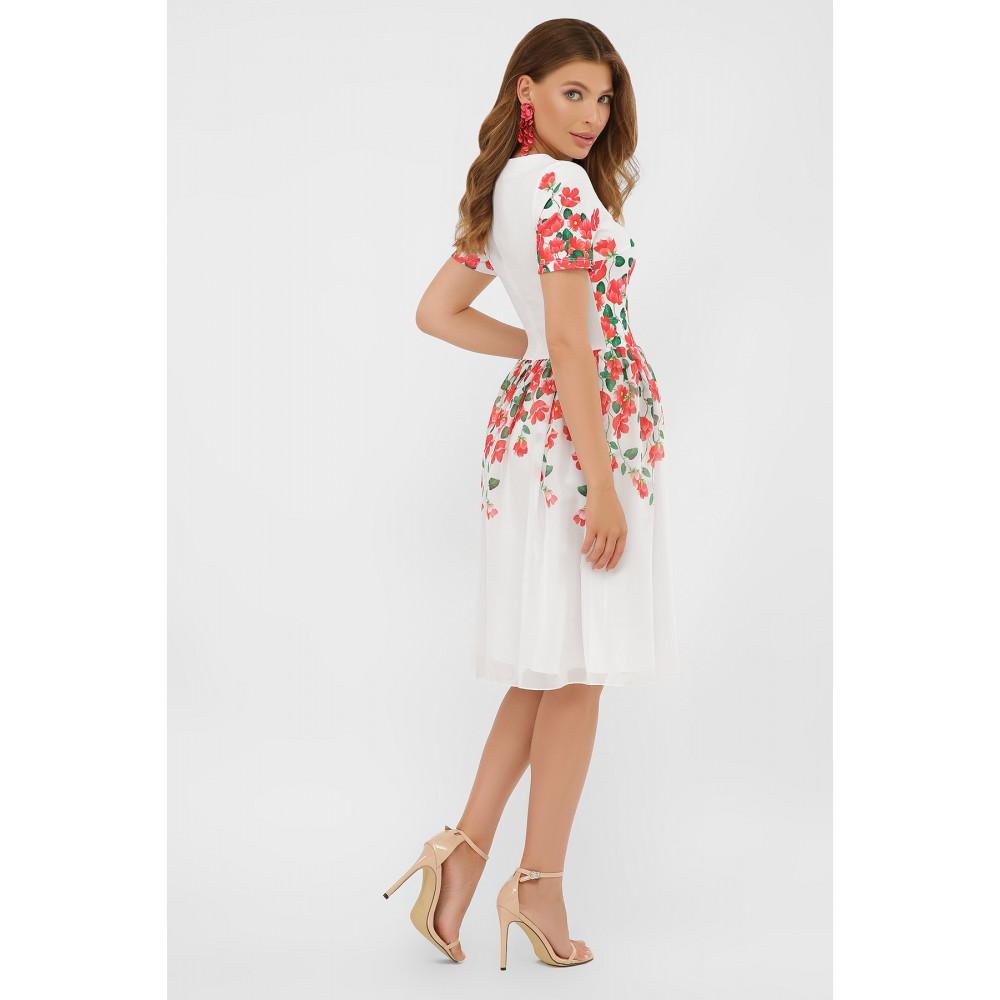 Белое платье-клеш в романтичный принт Мияна фото 4