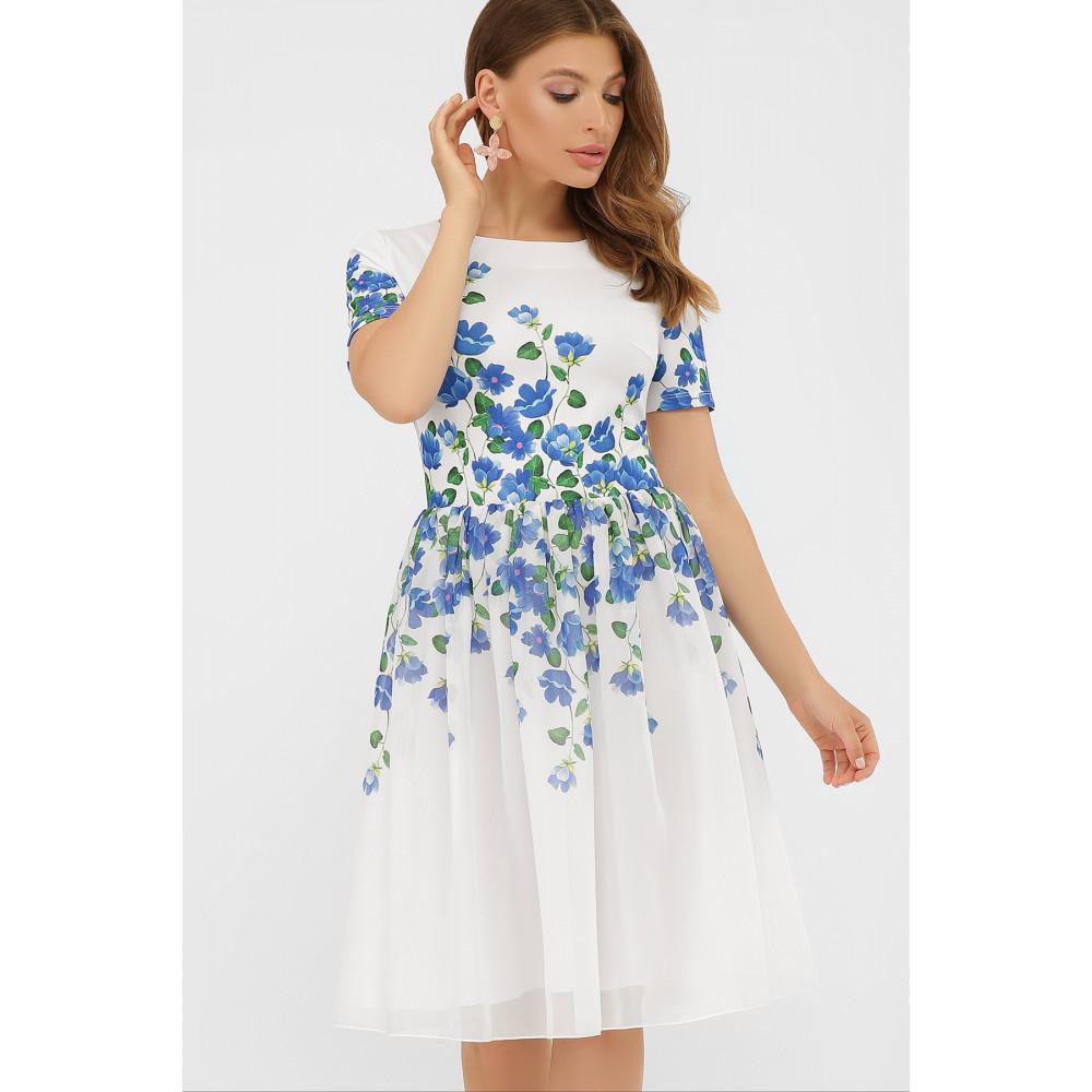 Белое платье в романтичный принт Мияна фото 1