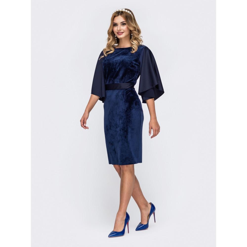 Бархатное сапфировое платье фото 2