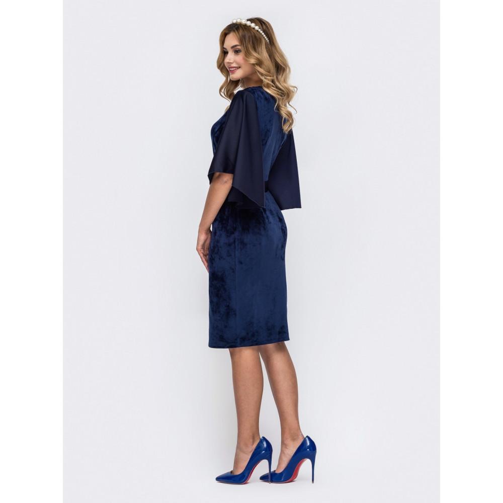 Бархатное сапфировое платье фото 3