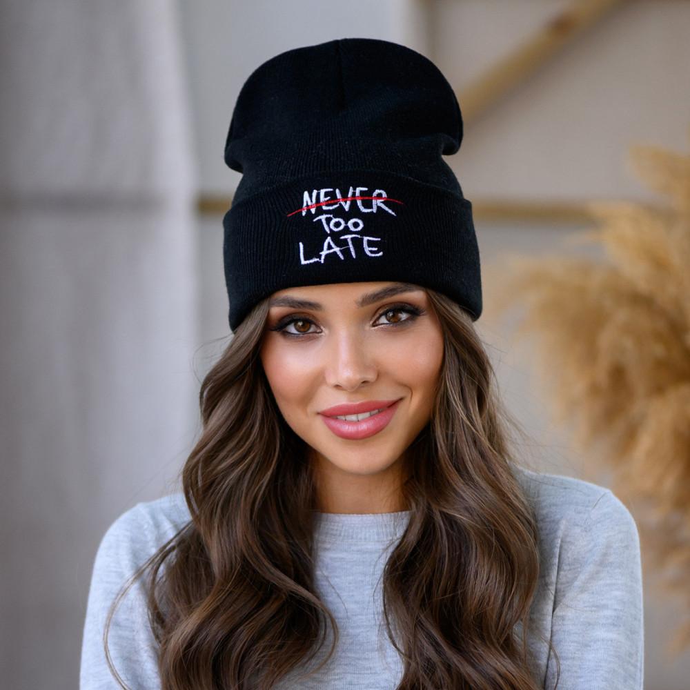 Молодежная черная шапка Бетани фото 1