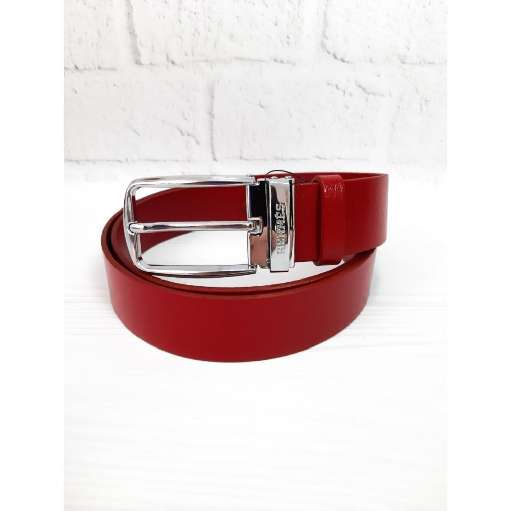 Красный кожаный пояс Hermes фото 1