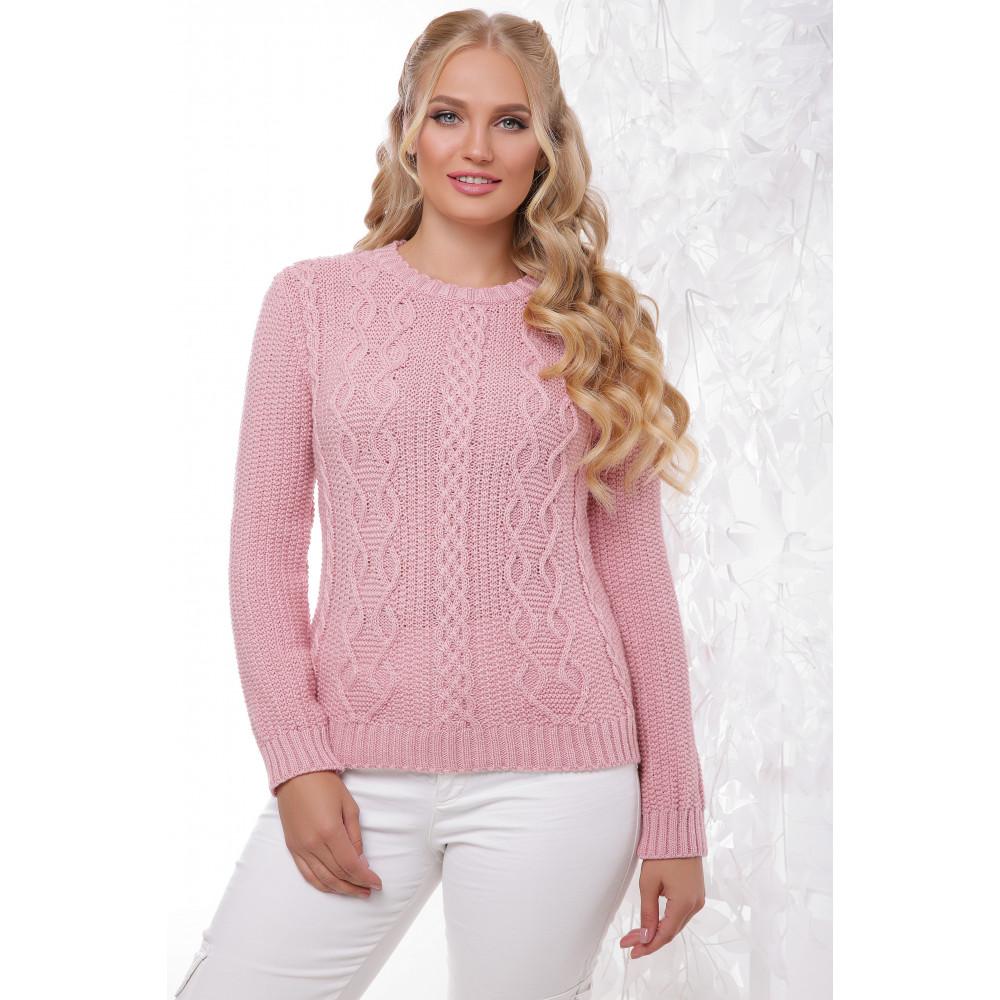 Нежно-розовый свитер с красивым узором фото 1