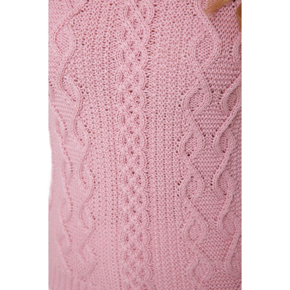 Нежно-розовый свитер с красивым узором фото 2