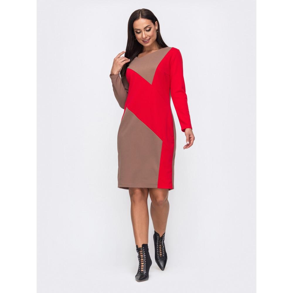 Контрастное платье в стиле color-block Сандра  фото 1