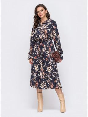 Принтованое платье-рубашка Клара