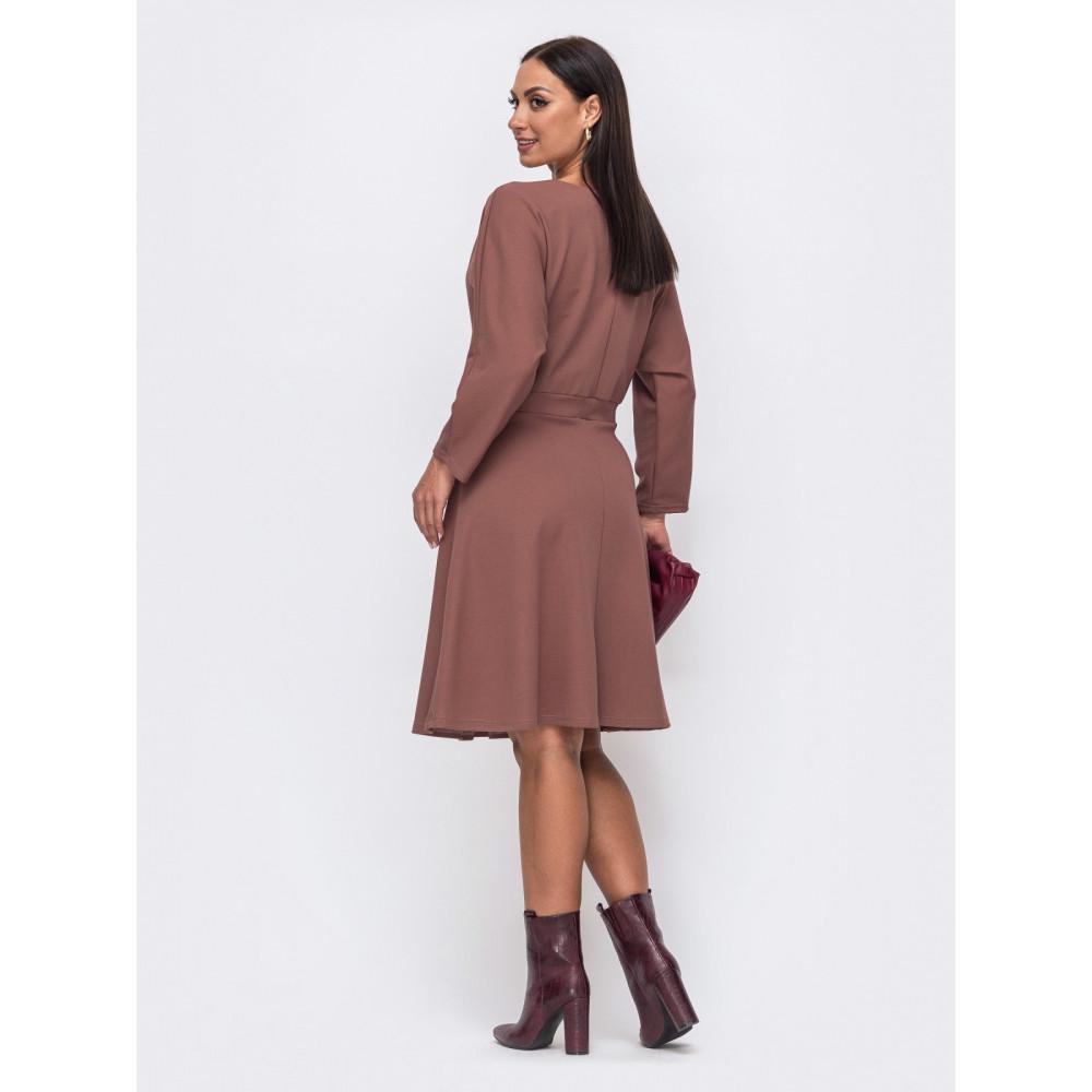 Кофейное платье с расклешенной юбкой Алика фото 2