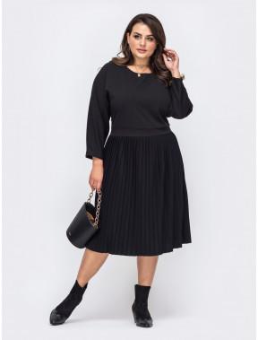 Черное платье с юбкой-плиссе Феодора