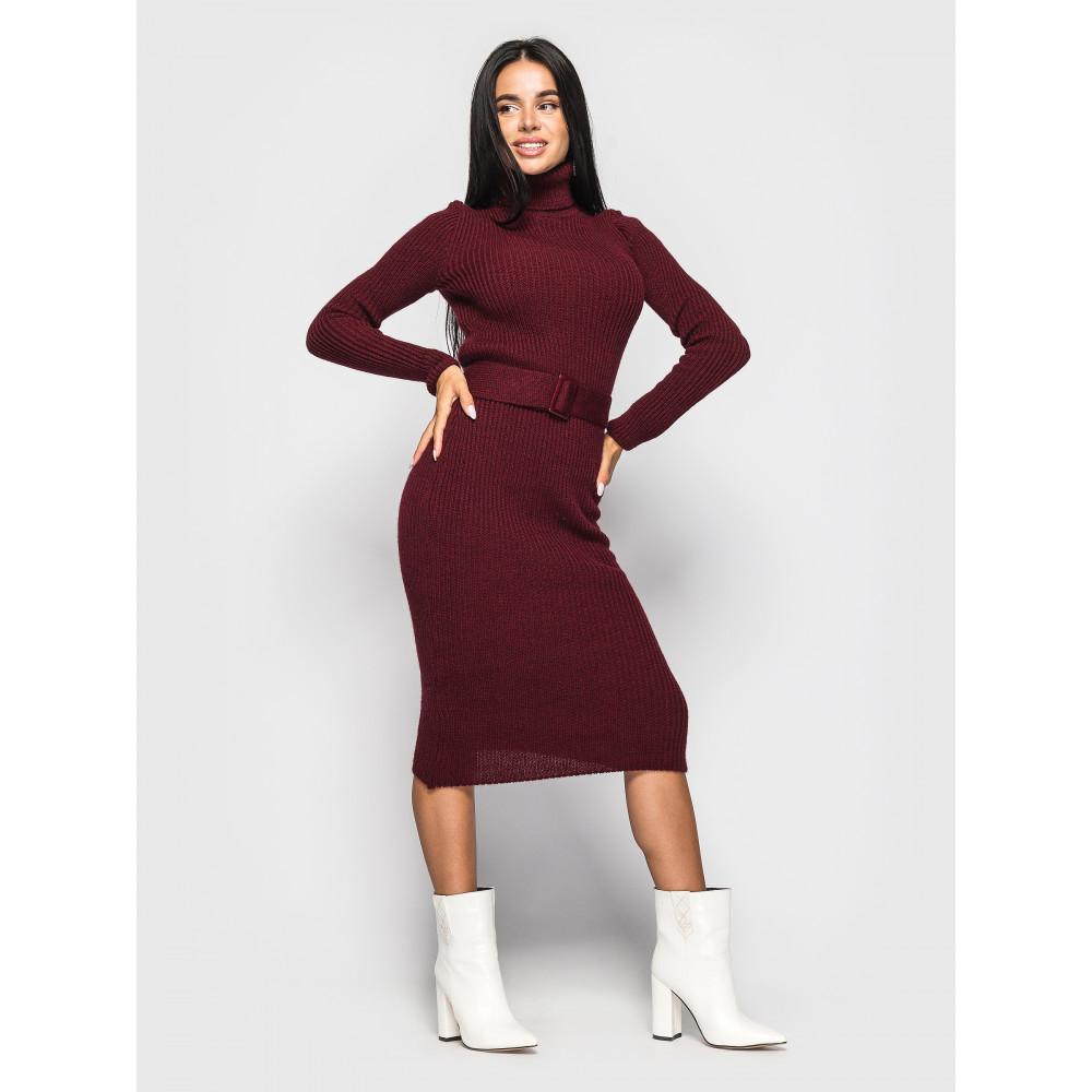 Бордовое платье-гольф Jasmine с поясом фото 1