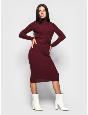 Бордовое платье-гольф Jasmine с поясом